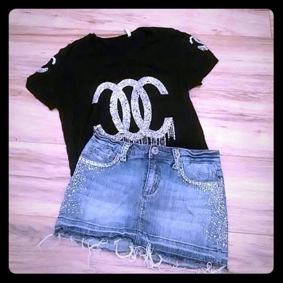 goodtime Dresses & Skirts - Rhinestone jean skirt